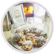 Hedgehog Shortbread Cookies Round Beach Towel by Denise Fulmer