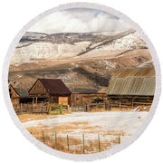 Heeney Road Barns And Snow Round Beach Towel