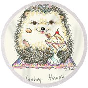Round Beach Towel featuring the mixed media Hedgehog Heaven by Denise Fulmer