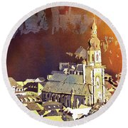 Round Beach Towel featuring the painting Heidelberg Sunset- Germany by Ryan Fox