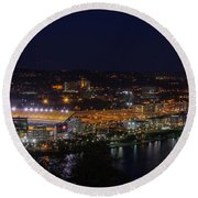 Heinz Field At Night From Mt Washington Round Beach Towel