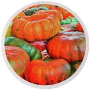 Heirloom Pumpkins Round Beach Towel
