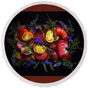 Heirloom Tomato Platter Round Beach Towel