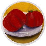 Round Beach Towel featuring the drawing Heirloom Tomatoes by Anastasiya Malakhova
