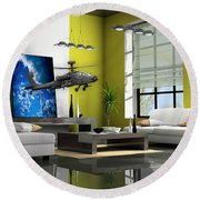 Helicopter Art Round Beach Towel