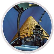 Helicopter On Skyscaper Facade Round Beach Towel