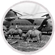 Helicopters And Water Buffalos Round Beach Towel