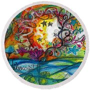 Round Beach Towel featuring the painting Helios And Ophelia Posterized by Genevieve Esson