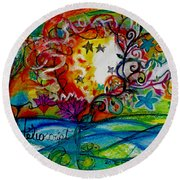 Round Beach Towel featuring the painting Helios And Ophelia  by Genevieve Esson