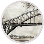 Hellgate Bridge In Sepia Round Beach Towel
