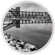 Hellgate Half Reflection Round Beach Towel