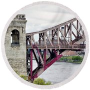 Hellgate In Grey Round Beach Towel