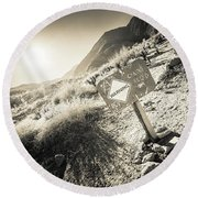 Round Beach Towel featuring the photograph Hellhole Canyon Warning by T Brian Jones