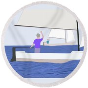 Hello Old Friend Round Beach Towel by Fred Jinkins