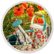 Round Beach Towel featuring the photograph Hello Summer by Teri Virbickis