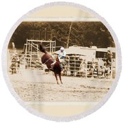 Helluva Rodeo-the Ride 3 Round Beach Towel