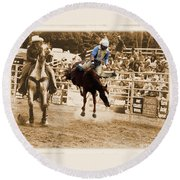 Helluva Rodeo-the Ride 5 Round Beach Towel