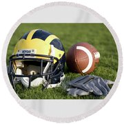 Helmet On The Field With Football And Gloves Round Beach Towel