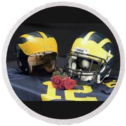 Helmets Of Different Eras With Jersey And Roses Round Beach Towel