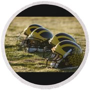 Helmets On The Field At Dawn Round Beach Towel
