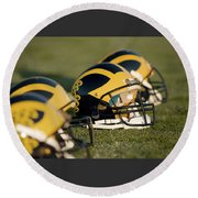 Helmets On The Field Round Beach Towel