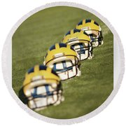 Helmets On Yard Line Round Beach Towel
