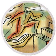 Round Beach Towel featuring the painting Helping Hand And Money by Leon Zernitsky