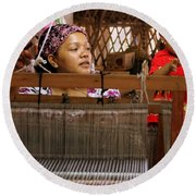 Round Beach Towel featuring the photograph Helping Mom With The Weaving by Laurel Talabere