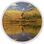 Helvellyn Mountain Reflections Round Beach Towel