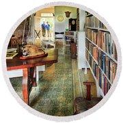 Hemingways' Cuba House Library No.8 Round Beach Towel