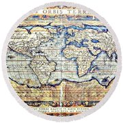 Hemisphere World  Round Beach Towel