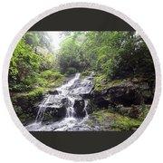 Hen Wallow Falls Great Smoky Mountains National Park Round Beach Towel