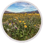 Henderson Canyon Super Bloom Round Beach Towel by Peter Tellone