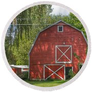 0018 - Henderson Road Red I Round Beach Towel