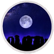 Henge Under The Supermoon Round Beach Towel