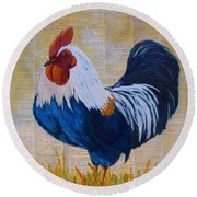 Round Beach Towel featuring the painting Henhouse Boss by Nancy Jolley