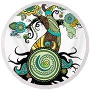 Henna Tree Of Life Round Beach Towel by Serena King
