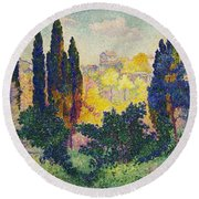 Henri Edmond Cross French Les Cypres A Cagnes Round Beach Towel