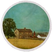 Round Beach Towel featuring the photograph Henry House At Manassas Battlefield Park by Kim Hojnacki