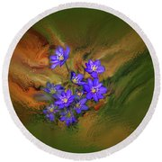Hepatica Nobilis Painterly #h4 Round Beach Towel