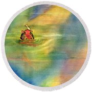 Her Bonny Feathered Bathing Cap Round Beach Towel by Amy Kirkpatrick