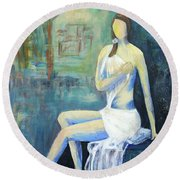 Her Grace Round Beach Towel by Haleh Mahbod