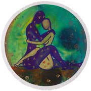 Her Loves Embrace Divine Love Series No. 1006 Round Beach Towel