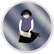 Her Picture Book Round Beach Towel
