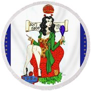 Her Royal Majesty Queen Sue Round Beach Towel by Don Pedro De Gracia