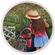 Her Secret Garden Round Beach Towel