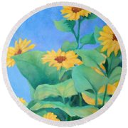 Her Sunflower Garden Original Oil Painting Of Sunflowers Round Beach Towel