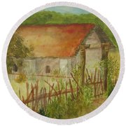 Round Beach Towel featuring the painting Herb Garden by Vicki  Housel