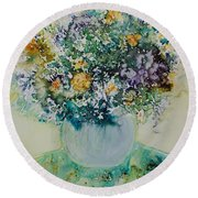 Round Beach Towel featuring the painting Herbal Bouquet by Joanne Smoley