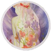 Herbal Goddess  Round Beach Towel